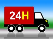Truck Transport Indicates Twenty Four Hours And 24H