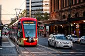 Tram outside Adelaide station