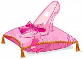 Crystal Cinderella slipper on pink pillow. Raster version.