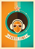 Illustrated party time poster. Vector illustration.