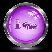 Car fueling. Internet button. Raster illustration.