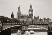 picture of westminster bridge  - Westminster Palace and bridge over Thames River in London in black and white - JPG