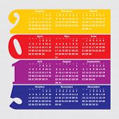 2015 calendar with flat numbers and long shadows - vector illustration
