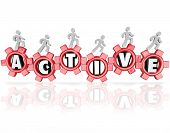 Active word in red gears and people walking, running or jogging physical activity, fitness