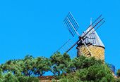 Historic mill in the Bay of Collioure, South of France