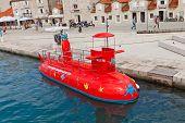 Red Semi-submarine In Trogir, Croatia
