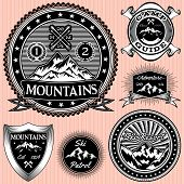 picture of nordic skiing  - set of vector monochromatic emblems with mountains - JPG
