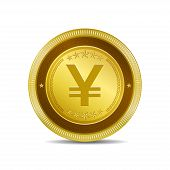 Yen Currency Sign Circular Vector Gold Web Icon Button
