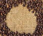 Coffee Beans Surrounding On Burlap Sack