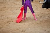 picture of bullfighting  - A barefoot bullfighter waits the bull with the capote during a bullfight - JPG