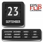 Isolated analog flip calendar isolated