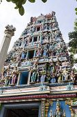 stock photo of durga  - Front view of Goddess Durga temple tower or Gopuram or Vimana