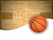 picture of court room  - An illustration of a basketball court and ball background - JPG