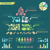 stock photo of food pyramid  - Food pyramid healthy eating concept infographic with charts vector illustration - JPG