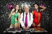 foto of grandpa  - amazing grandpa DJ and his two beauitful gogo dancers - JPG