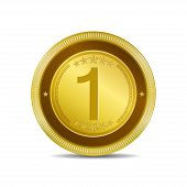1 Number Circular Vector Gold Web Icon Button