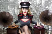 Постер, плакат: Beautiful Military Disco Dj With Gramophones