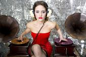 Beautful Disco Dj With Gramophones