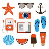 Collection of icons representing holidays, summer and relaxation in flat design style.