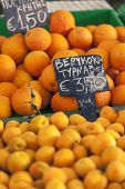 Oranges At  Lockal Market In Greece.
