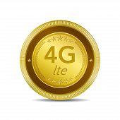 4g Sign Circular Gold Vector Button Icon