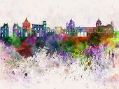 Palermo Skyline In Watercolor Background