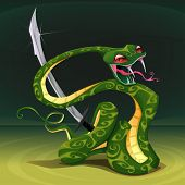 Poisonous snake with saber. Cartoon vector illustration