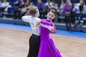 Minsk-belarus, February, 23: Unidentified Dance Couple Performs Juvenile-1 Standard European Program
