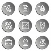 E-business web icons, grey stickers set