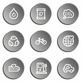 Ecology web icon set 4, grey stickers set