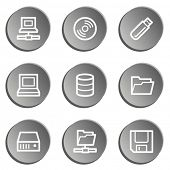 Drives and storage web icons, grey stickers set