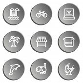 Vacation web icons , grey stickers set