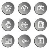 Travel  web icon set 4,  grey stickers set