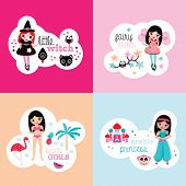 Girls fantasy theme colorful retro bedroom wall poster set princess fairy witch and beach girl kids design in vector