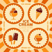 Ice cream label design with color icons