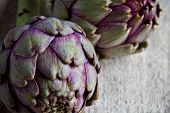 two fresh artichokes closeup on textile background