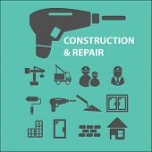 construction, repair icons, signs set, vector
