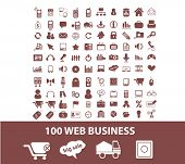 100 web business, e-commerce, retail, internet shop icons, signs set, vector