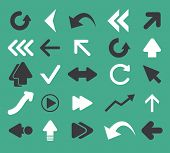 arrow, direction, pointer icons, signs set, vector