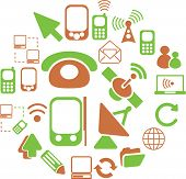 connection, communication, network icons, signs set, vector