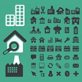 real estate, buildings, city, urban icons, signs set, vector