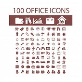 100  web design objects, interface elements, business and office items icons, signs set, vector. Iso