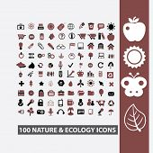 100 nature, ecology, climate, environment, weather icons set, vector