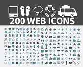200 web, internet, travel, computer, internet, website icons, signs set, vector