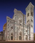 Facade of Florence Cathedral with tower, Italy