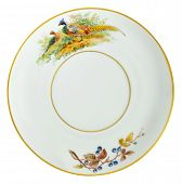 An old over hundred fifty years old porcelain saucer decorated with hand painting. Gold plated rings