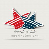 Stylish sticker, tag or label on beige background for Fourth of July, American Independence Day celebrations.