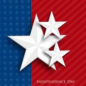 Stylish silver stars on blue and red background for 4th of July, American Independence Day celebrations.