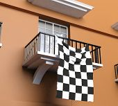 Balcony with flag of Formula one