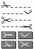 set scissors, coupon and dotted line